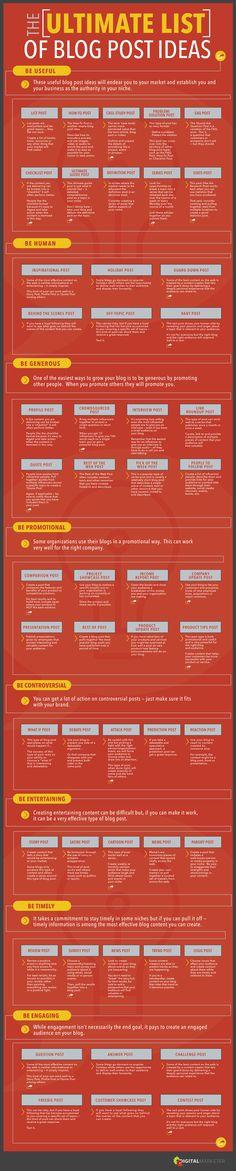 Blog post ideeën nodig? Dit is de ultieme lijst. http://marcommanager.nl/bloggen/blog-post-ideeen-de-ultieme-lijst/