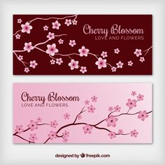 Cute banners with cherry blossoms Free Vector