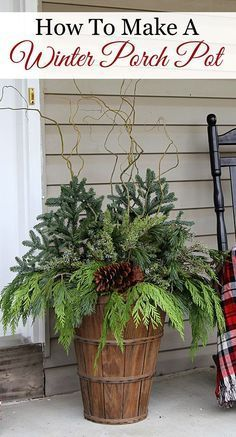 Christmas DIY: Quick and easy tutor Quick and easy tutorial for making these GORGEOUS winter porch pots. Made in baskets for a farmhouse style but can be made in urns for a more formal look! Winter Christmas, Christmas Home, Christmas Crafts, Front Porch Ideas For Christmas, Christmas Porch Ideas, Outdoor Christmas Decor Porches, Christmas Front Doors, Decorating Porch For Christmas, How To Decorate For Christmas