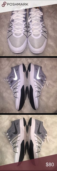 "Rare white Nike ""Zoom Train Incredibly Fast"" White , Black and grey Nike training shoes good for lifting training 🏃🏽🏋🏽 and they look good too! Do not come with wooden shoe stays or box. Nike Shoes Athletic Shoes"