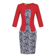 Red- Leopard Elegant Pencil Dress    This wonderful elegant pencil dress is comfortable,  it is elegant for any occasion, it is ultra-flattering, cut in figure-hugging pencil shape and featuring three-quarter length sleeves. invisible zipper on the back, Polyester, Cotton. The pencil dress is sure to become your new office favourite. Complement this gorgeous dress with heels.
