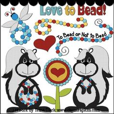 Love to Bead 1 Clip Art - Original Artwork by Trina Clark