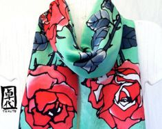Large Silk Scarf Hand Painted Red Silk Scarf от SilkScarvesTakuyo