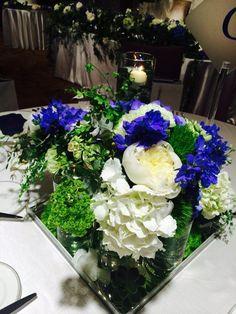 幼馴染wedding の画像|Wedding &Party Designerの黒沢祐子 Banquet, Floral Arrangements, Purple, Blue, Table Decorations, Party, Flowers, Wedding, Image