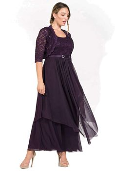R&M Richards Long Mother of Bride Jacket Dress Plus Size Formal Dress With Jacket, Long Jacket Dresses, Long Bridesmaid Dresses, Formal Dresses, Bride Dresses, Short Dresses, Eggplant Dress, Lace Jacket, Fit Flare Dress