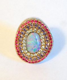 Fire opal sterling silver ring by YaronaJewelryDesign on Etsy, $169.00
