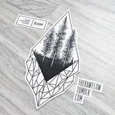 Dotwork tree forest geometric tattoo - design for Elizabeth
