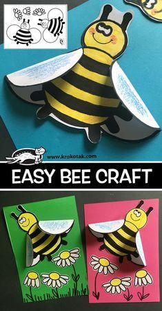 EASY+BEE+CRAFT Insect Crafts, Bug Crafts, Preschool Crafts, Easy Crafts, Bee Crafts For Kids, Art For Kids, Hobbies For Kids, Kindergarten Art, Bee Theme