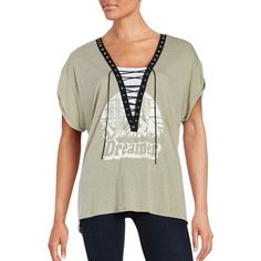 Vintage Havana Short Sleeve Graphic Lace-Up Tee ($56) ❤ liked on Polyvore featuring tops, t-shirts, olive, v neck tee, v-neck tee, graphic tees, graphic design t shirts and white v neck t shirt