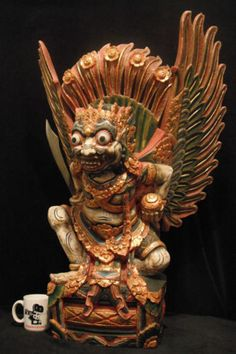 Rare-Huge-Wood-Carving-of-Ravana-from-the-Ramayana-33-Tall-84-cm-Antique
