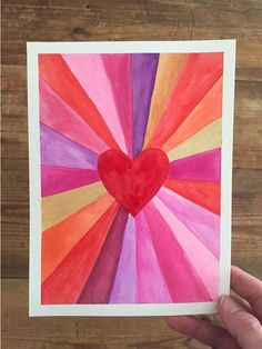Paintings: Make Art with a Ruler Heart burst paintings for Valentine's! A great art project for kids, teens, and adults alike.Heart burst paintings for Valentine's! A great art project for kids, teens, and adults alike. Arte Elemental, Classe D'art, Drawing Videos For Kids, Valentine Crafts For Kids, Valentines Art Lessons, Teen Crafts, Valentine's Day Crafts For Kids, Art Activities For Kids, Valentine Decorations