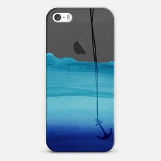 Watercolor Ocean Blue Gradient Nautical Anchor on Transparent Background  - Classic Snap Hülle
