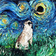 Pug Art - Starry Night Pug Art Print dog lover gift cute art by Aja and inches choose size pup puppy Van Gogh Pinturas, Dog Lover Gifts, Dog Lovers, Web Comic, Original Artwork, Original Paintings, Dog Paintings, Pug Art, Pug Love