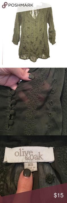 Olive & Oak Green Blouse Olive & Oak Three quarter sleeve olive colored blouse. Adorable features including four covered buttons and uniquely embroidered design! Sleeves scrunch at ends Olive & Oak Tops Blouses
