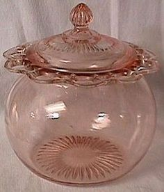 <3 Old Colony Pink Depression Glass Cookie Jar - Pre 1940