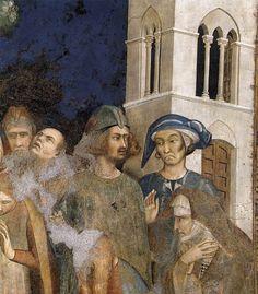 Simone Martini - Il miracolo della Resurrezione di un bambino (Scene della vita di San Martino), dettaglio - affresco - 1312-1317 - Cappella di San Martino, Chiesa inferiore, Basilica di San Francesco, Assisi