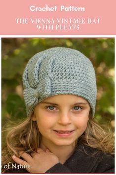 The Vienna Vintage Hat with Pleats Crochet Pattern Affiliate Link Crochet Girls, Knit Or Crochet, Crochet For Kids, Crochet Crafts, Crochet Baby, Crochet Projects, Knitting For Kids, Baby Knitting, Selling Crochet
