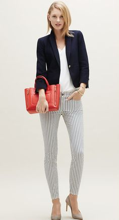 Heading Out? Pair a navy blazer with striped denim and add coral bag for a pop of color.
