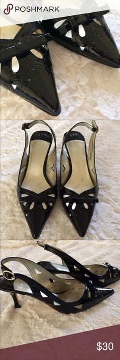 Ivanka Trump laser cut Bow point toe kitten heels. Tons of life left in them! Size 38. (8) black. Ivanka Trump Shoes