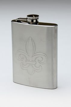 Stainless Steel Flask with Fleur de lis Design.
