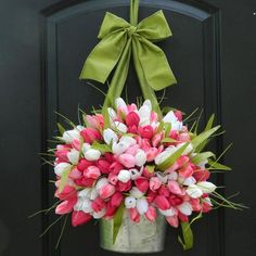Spring Wreath -  Tulip Wreath - Pink Wreath - Easter Wreath - Choose Color - Many to choose - Ever Blooming Originals - 1