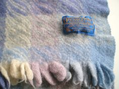 Pendleton wool blanket / plaid blue lavender cream by VintageHand