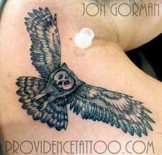 by jon gorman at providence tattoo  #Jongorman #providencetattoo #owl #tattoo #owltattoo #blackwork #linework