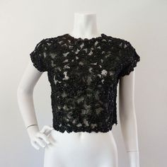 Vintage Beaded Top  50s 60s Black Floral Lace Sequin Scallop