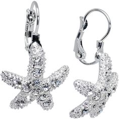 Clear Gem Starfish Leverback Earrings | Body Candy Body Jewelry