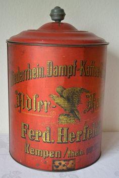 Antike,originale,große Blechdose Container,,ADLER-KAFFEE  Dampf-Kaffee-Rösterei