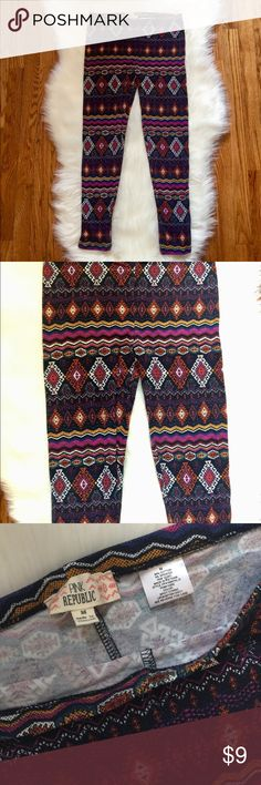 Colorful Tribal Print Leggings Colorful tribal print leggings from Pink Republic. These have been worn maybe one time, so they are in like new condition! Full-length and size medium, but I am a small and these fit me as well 😊 Pink Republic Pants Leggings