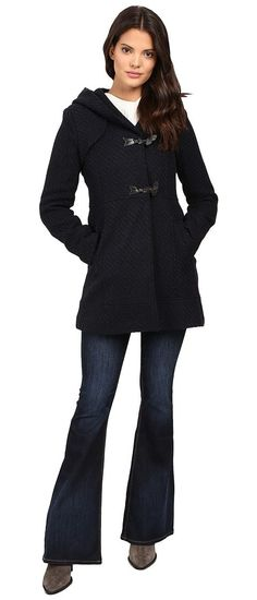 Jessica Simpson Braided Wool Duffle Coat with Hood (Navy) Women's Coat - Jessica Simpson, Braided Wool Duffle Coat with Hood, JOGMH025-001, Apparel Top Coat, Coat, Top, Apparel, Clothes Clothing, Gift, - Street Fashion And Style Ideas