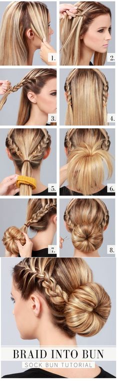 Braid Into Bun - Hairstyle Tutorial