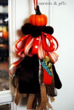 pumpkin and burlap tassel