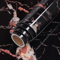 Waterproof Oil-proof Marble Self Adhesive Wallpaper - Black Gold / 60cm x 5m