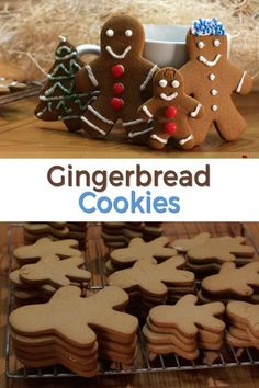 These classic homemade gingerbread cookies are perfect for the holidays or anytime you want a tasty cookie. No need to wait until Christmas! They are very easy to make using ingredients like flour, brown sugar, butter, egg, salt, baking powder, baking soda, cinnamon, cloves, ginger, etc. Make them soft or crunchy, totally up to you. If I can do it, you can do it! Christmas Food Treats, Christmas Desserts, Christmas Diy, Ginger Bread Cookies Recipe, Yummy Cookies, Vegan Kitchen, Kitchen Recipes, Brownie Recipes, Cookie Recipes