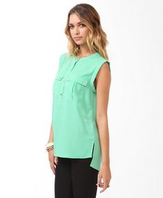 Boxy Buttoned Pockets Top | FOREVER 21 - 2031557513