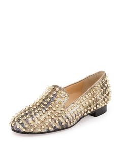 Rolling Spikes Glitter Loafer, Light Gold by Christian Louboutin at Neiman Marcus.