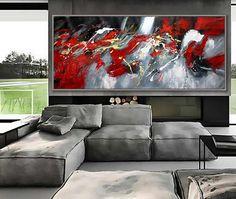 Noir rouge Art abstrait grand mur Art Wall Decor Art moderne