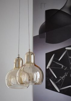 Mega Bulb Gold | Mega Bulb Pendant | Danish Design Lighting £159 Complete with black flex and ceiling rose. Ø: 18 cm H: 23 cm Material Clear high quality month-blown glass, with a polished edge. Electrical components stainless steel with porcelain lamp holder. Indoor use only. Fits ES/E27 screw cap. Max 60 Watt. Light bulb not included. 3 m cable