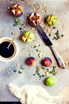 thee perfect summer amuse bouche. Roasted Figs with Prosciutto,Walnuts Figs, and Thyme #designsponge #dssummerparty
