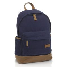 BNWT Men s Penguin Classic Navy Blue Contrast Leather Canvas Back Pack