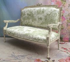 The couch is finished in an off white and newly upholstered with a French toile. Couch And Loveseat, Settee, Shabby Chic Loveseat, French Country Furniture, Country French, French Antiques, Love Seat, Accent Chairs, Decor Ideas