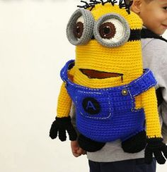 Items similar to Minion Crochet Backpack birthday gift, chr Crochet Home, Crochet For Kids, Crochet Crafts, Crochet Baby, Minion Bag, Minion Backpack, Knitted Dolls, Knitted Bags, Crochet Stitches