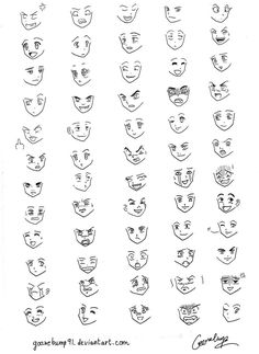 Manga Drawing Tips 60 Manga and Anime Expressions by on deviantART - Facial Expressions Drawing, Anime Faces Expressions, Art Drawings Sketches, Easy Drawings, Chibi Poses, Anime Poses, Chibi Tutorial, Kawaii Faces, Anime Sketch