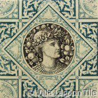 Victorian Transferware  #13 ceramic accent tile from Villa Lagoon Tile