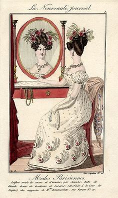 Modes Parisiennes, 1825. Early Romantic transition away from the Empire waist and Grecian hairstyles...