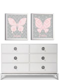 Personalized Nursery Twins Sisters Pink Grey Ikat Butterfly Wall Art set of 2 each 11x14