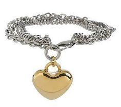 Steel By Design Multi-chain Heart Charm 7-1/4 Bracelet  $23