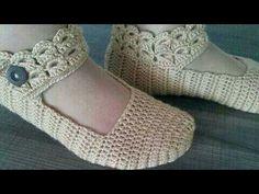 كروشيه بالوري حذاء سليبر نسائي مع حزام بغرزة البروموستيك crocheted slipper Women's - YouTube